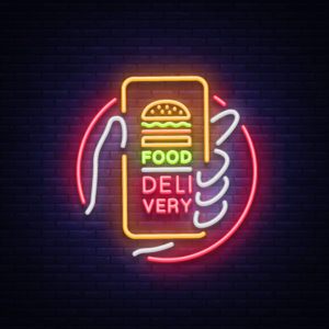 Neon food delivery sign