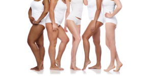 Different female body shapes and skin tones