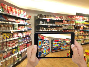 Exploring shopping aisle with tablet